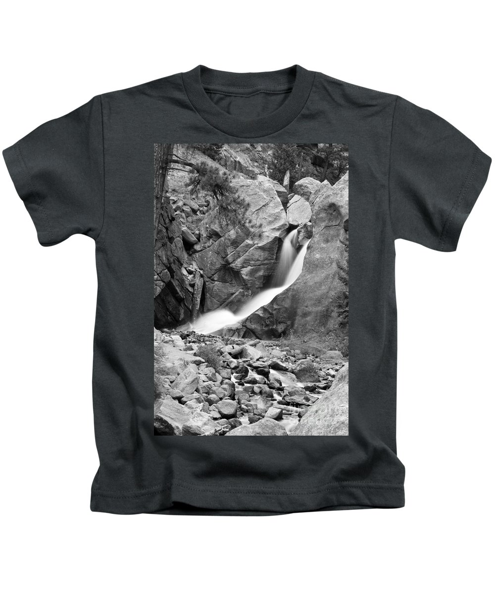 Waterfalls Kids T-Shirt featuring the photograph Boulder Falls Black And White  by James BO Insogna
