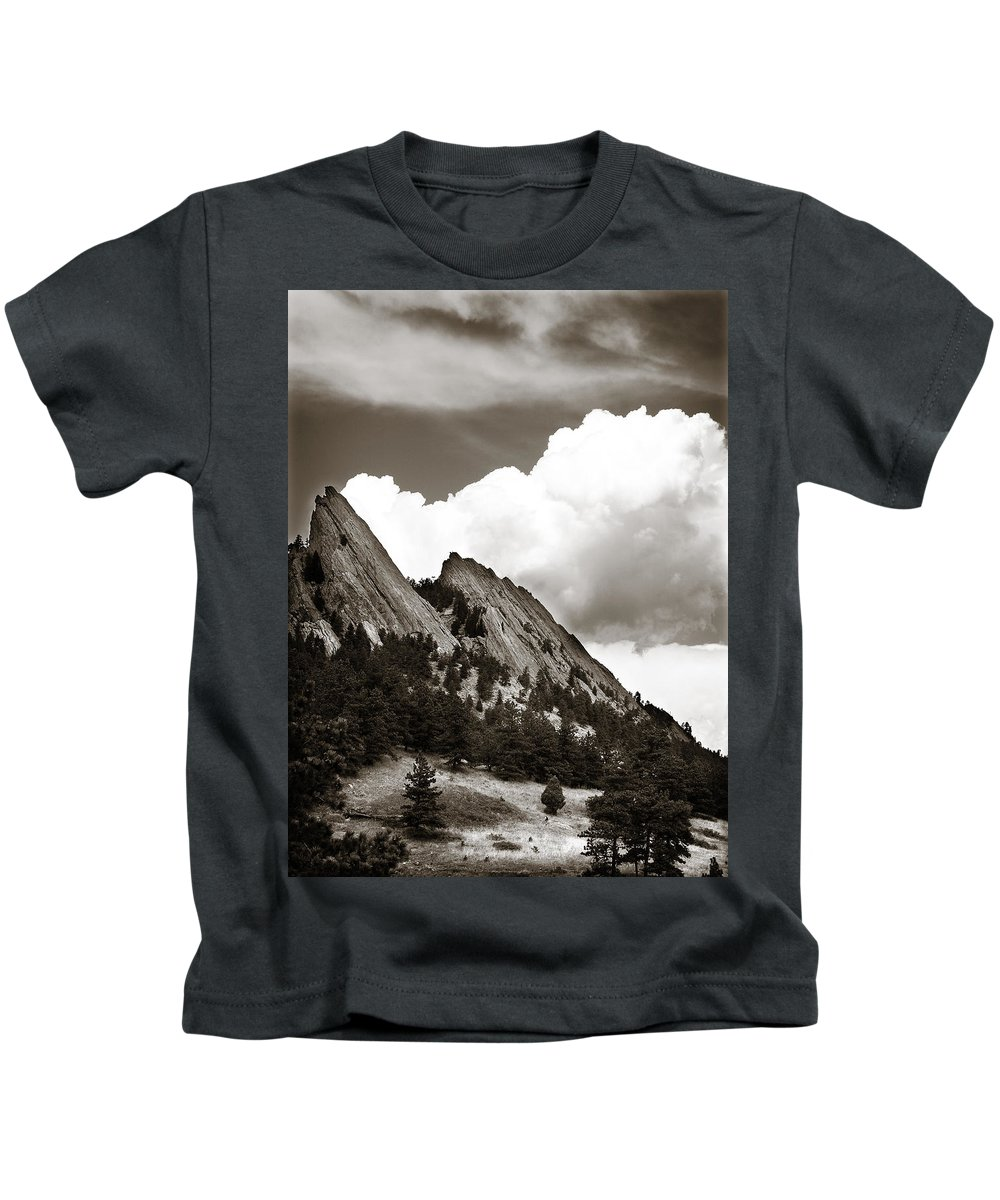 Flatirons Kids T-Shirt featuring the photograph Large Cloud Over Flatirons by Marilyn Hunt