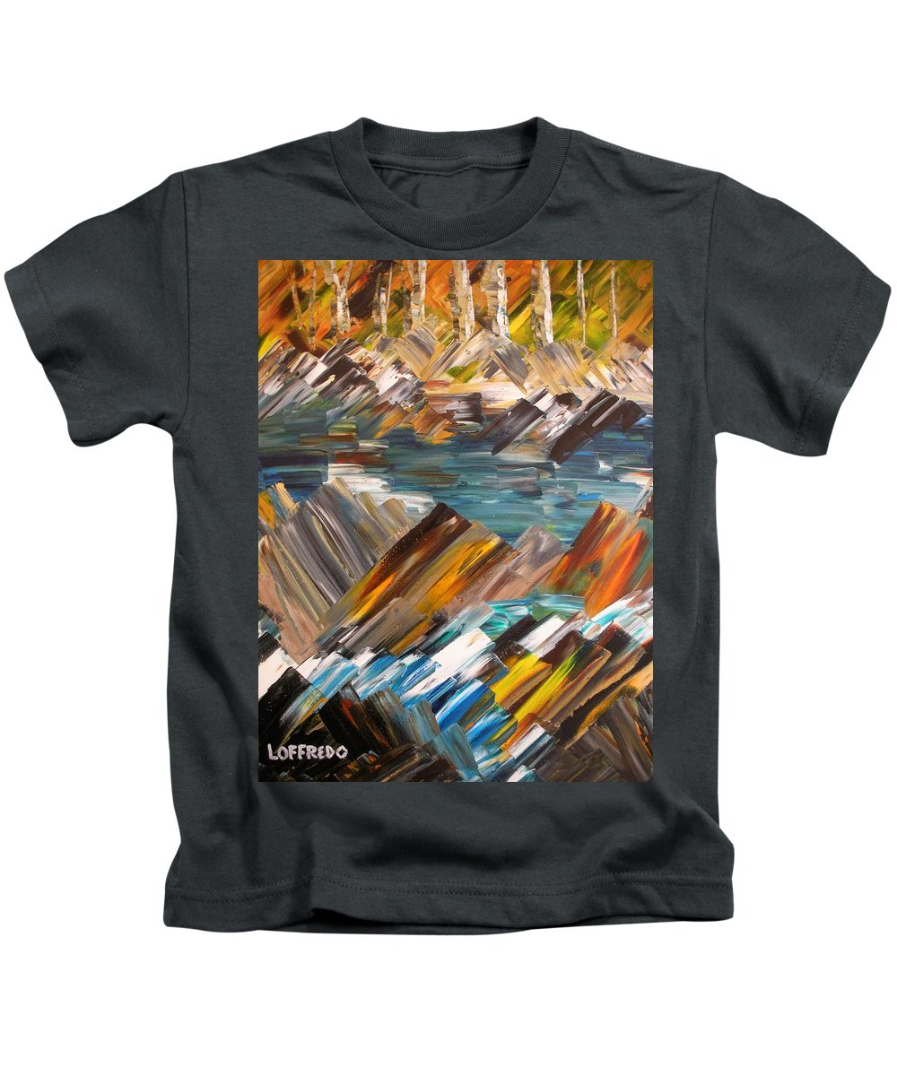 Fall Foliage Art Kids T-Shirt featuring the painting Boulders In The River by Ralph Loffredo