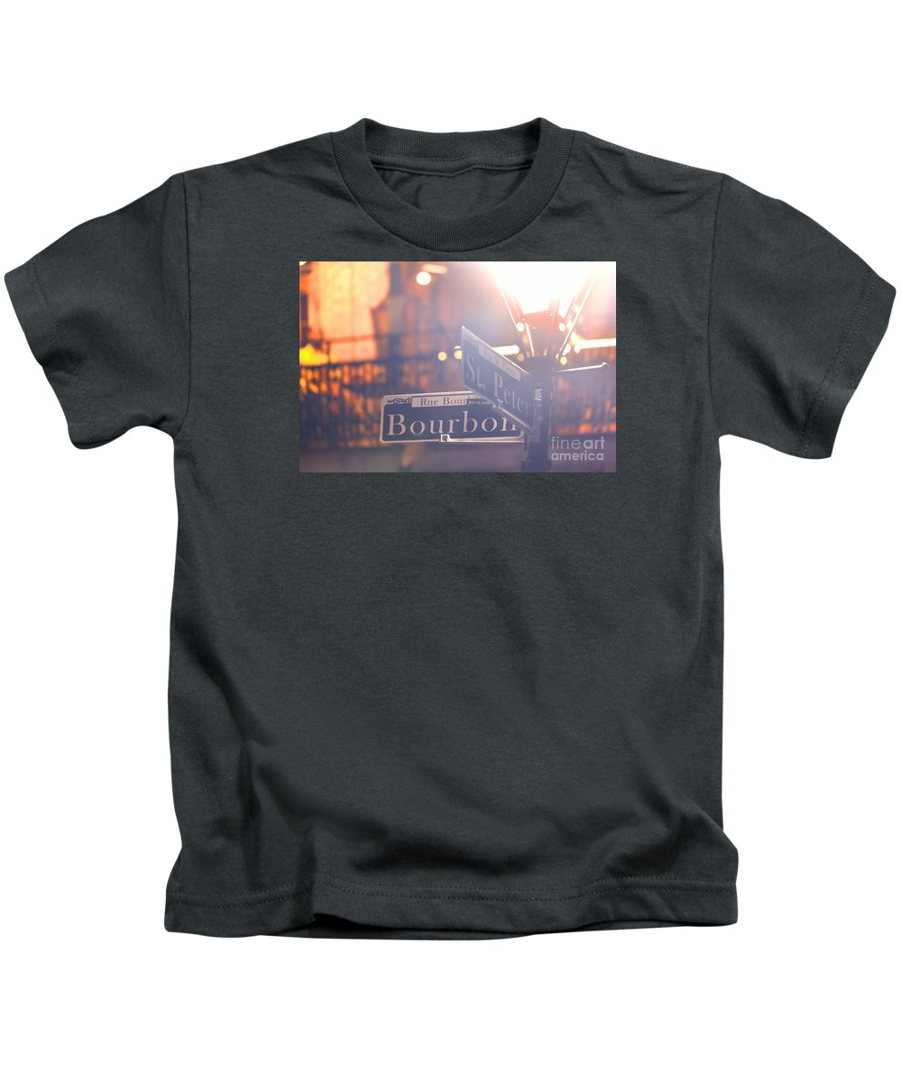 Bourbon Street Kids T-Shirt featuring the photograph Bourbon Street New Orleans La by Monika Wlodarska