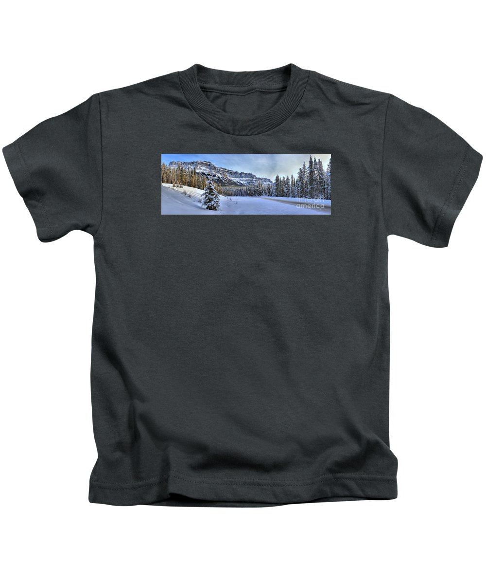 Castle Mountain Kids T-Shirt featuring the photograph Bow Valley Castle Cliffs by Adam Jewell