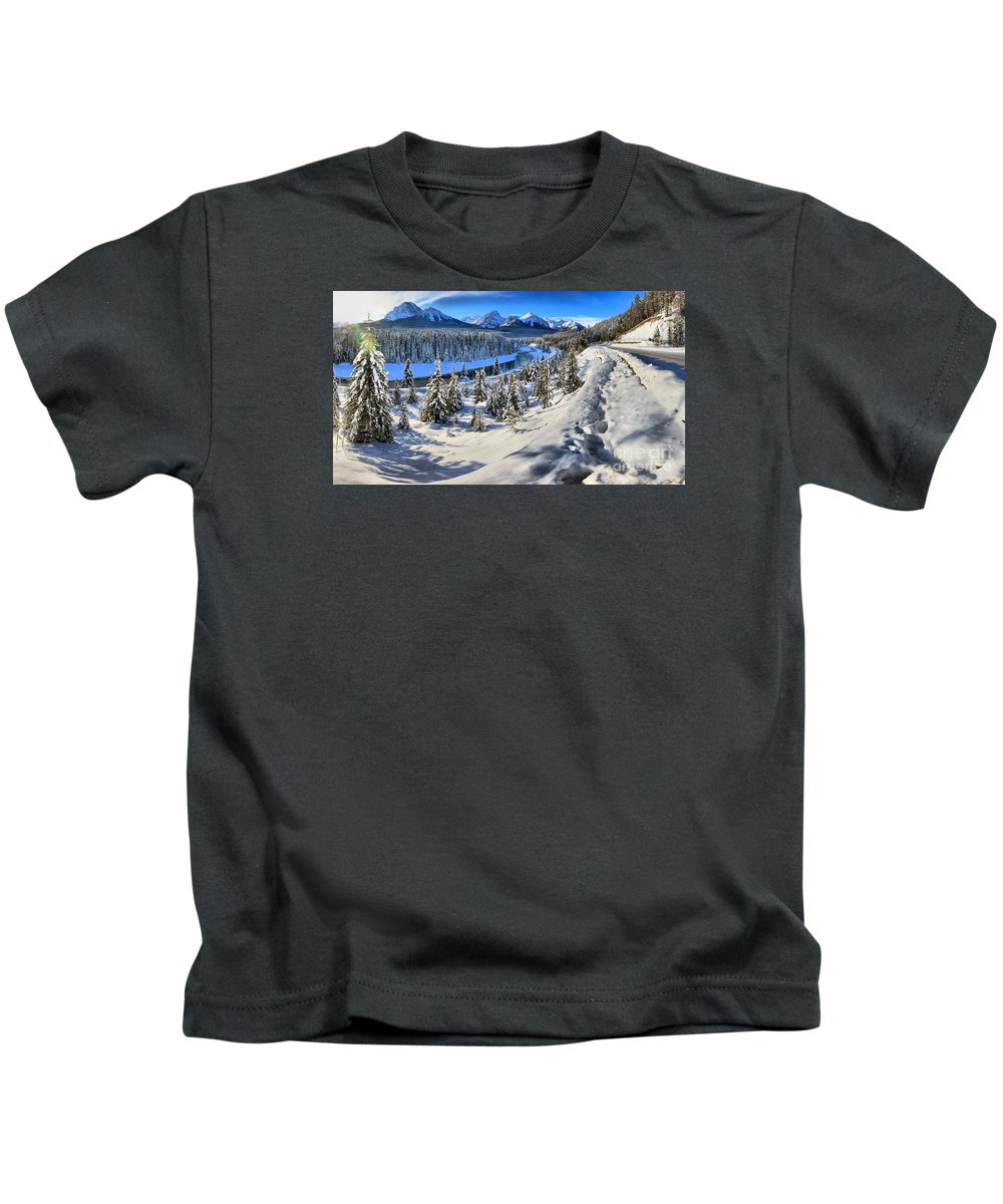 Morant Kids T-Shirt featuring the photograph Bow Valley Mountains by Adam Jewell