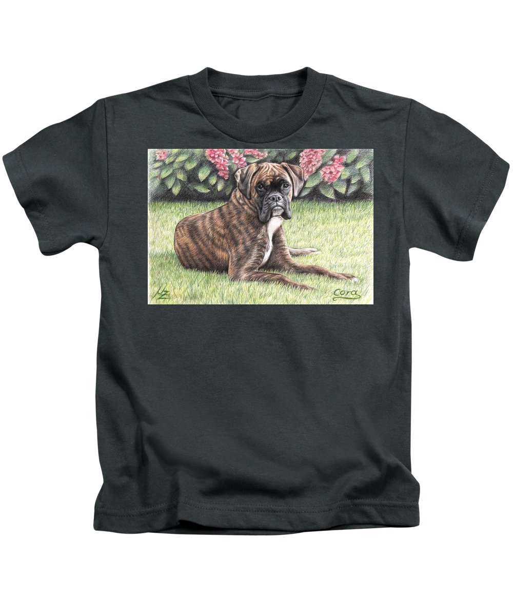 Dog Kids T-Shirt featuring the drawing Boxer Girl by Nicole Zeug