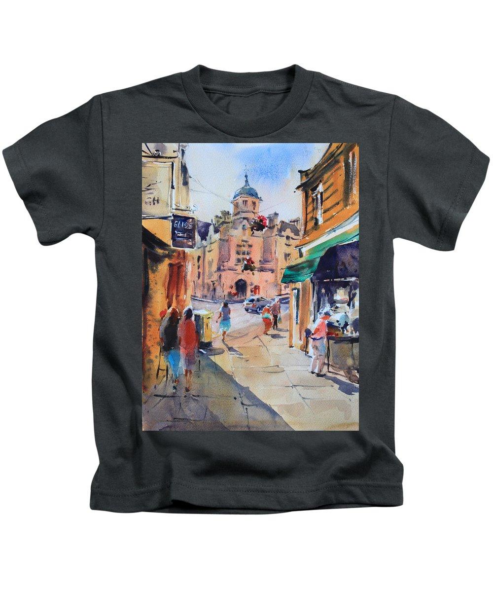 Bradford-on-avon Kids T-Shirt featuring the painting Bradford-on-avon by Ibolya Taligas