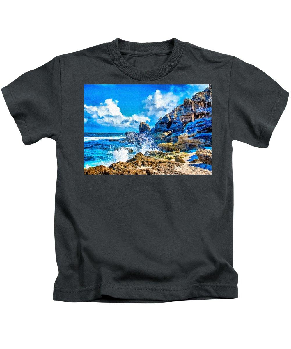 Classic Landscape Kids T-Shirt featuring the digital art Breakers On The Rocks At Kenridgeview - On - Sea L B by Gert J Rheeders