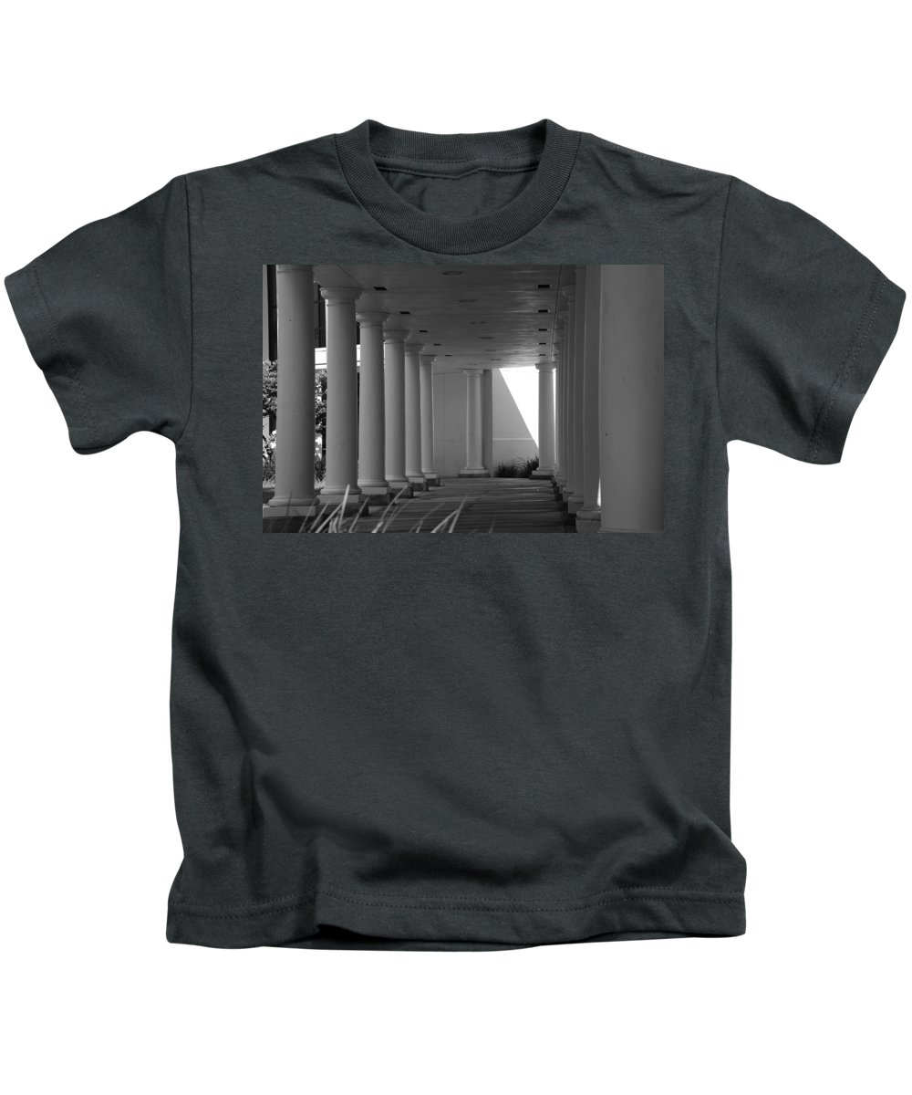 Black And White Kids T-Shirt featuring the photograph Breezeway by Rob Hans