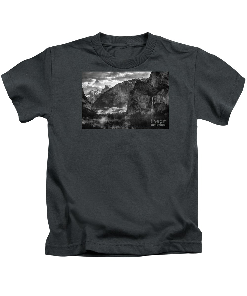 Yosemite Kids T-Shirt featuring the photograph Bridalvail Falls And Half Dome by Anthony Bonafede