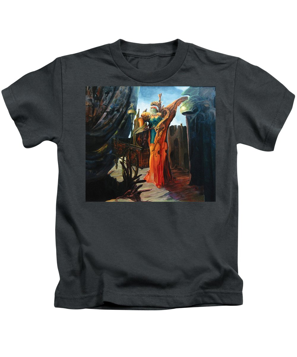 Bride With Violin Kids T-Shirt featuring the painting Bride by Viktoras Voronovas
