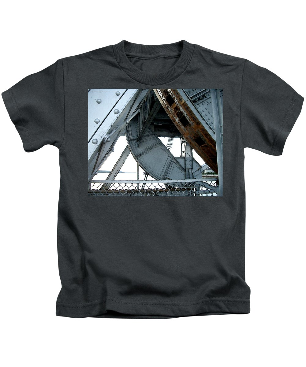 Steel Kids T-Shirt featuring the photograph Bridge Gears by Tim Nyberg