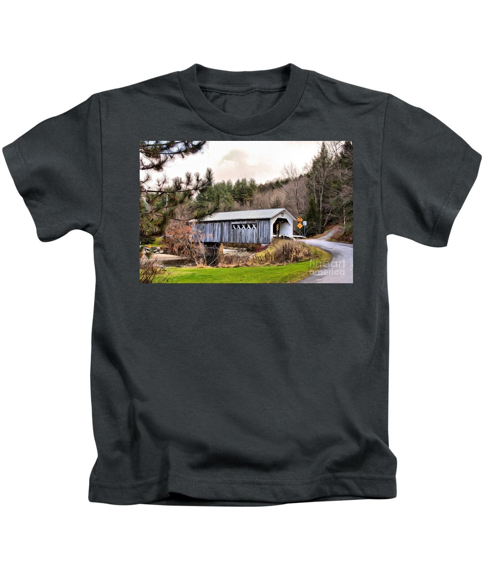 Covered Kids T-Shirt featuring the mixed media Bridge In Montgomery by Deborah Benoit