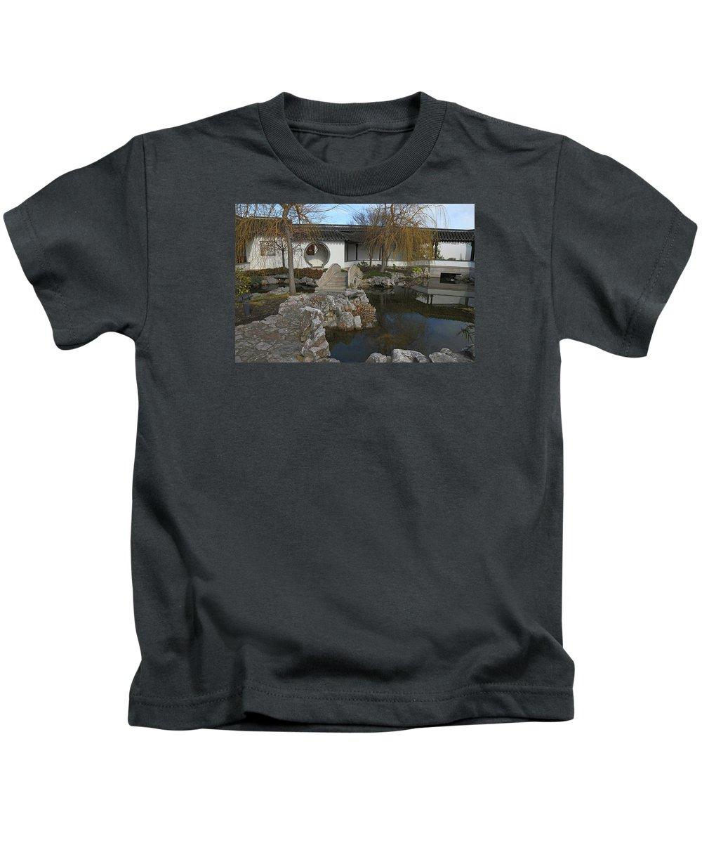 Chinese Garden Kids T-Shirt featuring the photograph Bridge In The Chinese Garden by Nareeta Martin