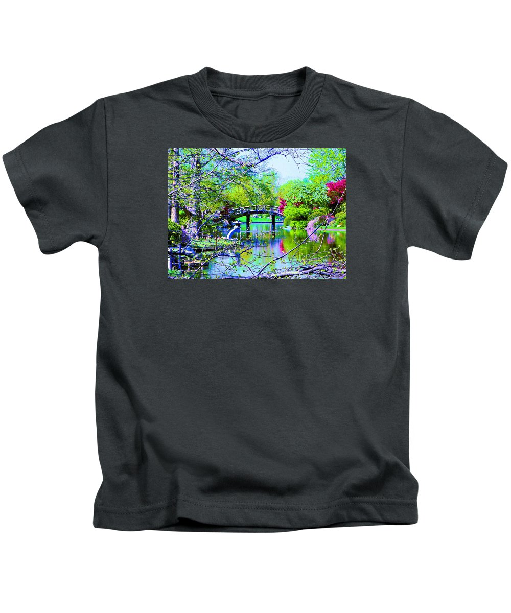 Canvas Print Kids T-Shirt featuring the painting Bridge Over Peaceful Waters by Susanna Katherine