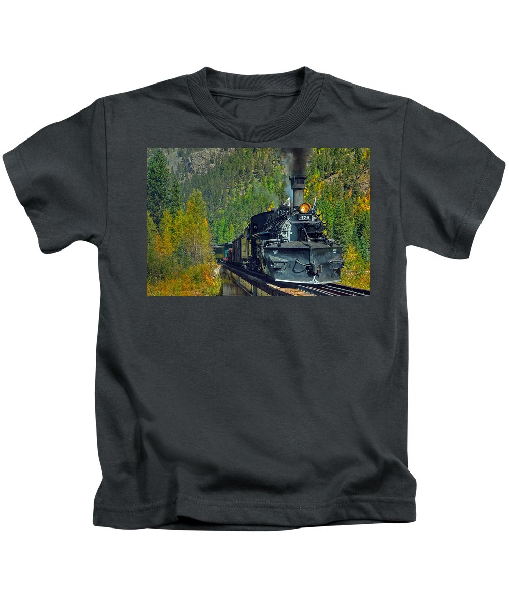 Steam Train Photographs Kids T-Shirt featuring the photograph Bridge View by Ken Smith