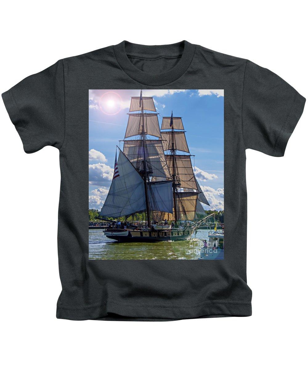 Photography Kids T-Shirt featuring the digital art Brig Niagara Iv by Kathryn Strick