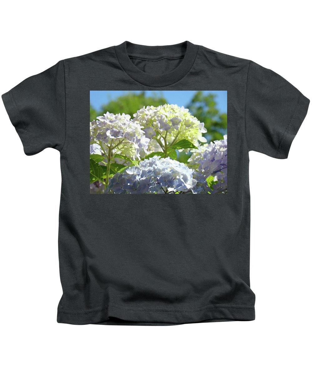 Nature Kids T-Shirt featuring the photograph Bright Floral Art Pastel Blue Purple Hydrangeas Flowers Baslee Troutman by Baslee Troutman