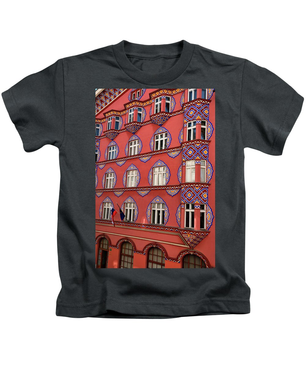 Cooperative Business Bank Kids T-Shirt featuring the photograph Brightly Colored Cooperative Business Bank Building Or Vurnik Ho by Reimar Gaertner