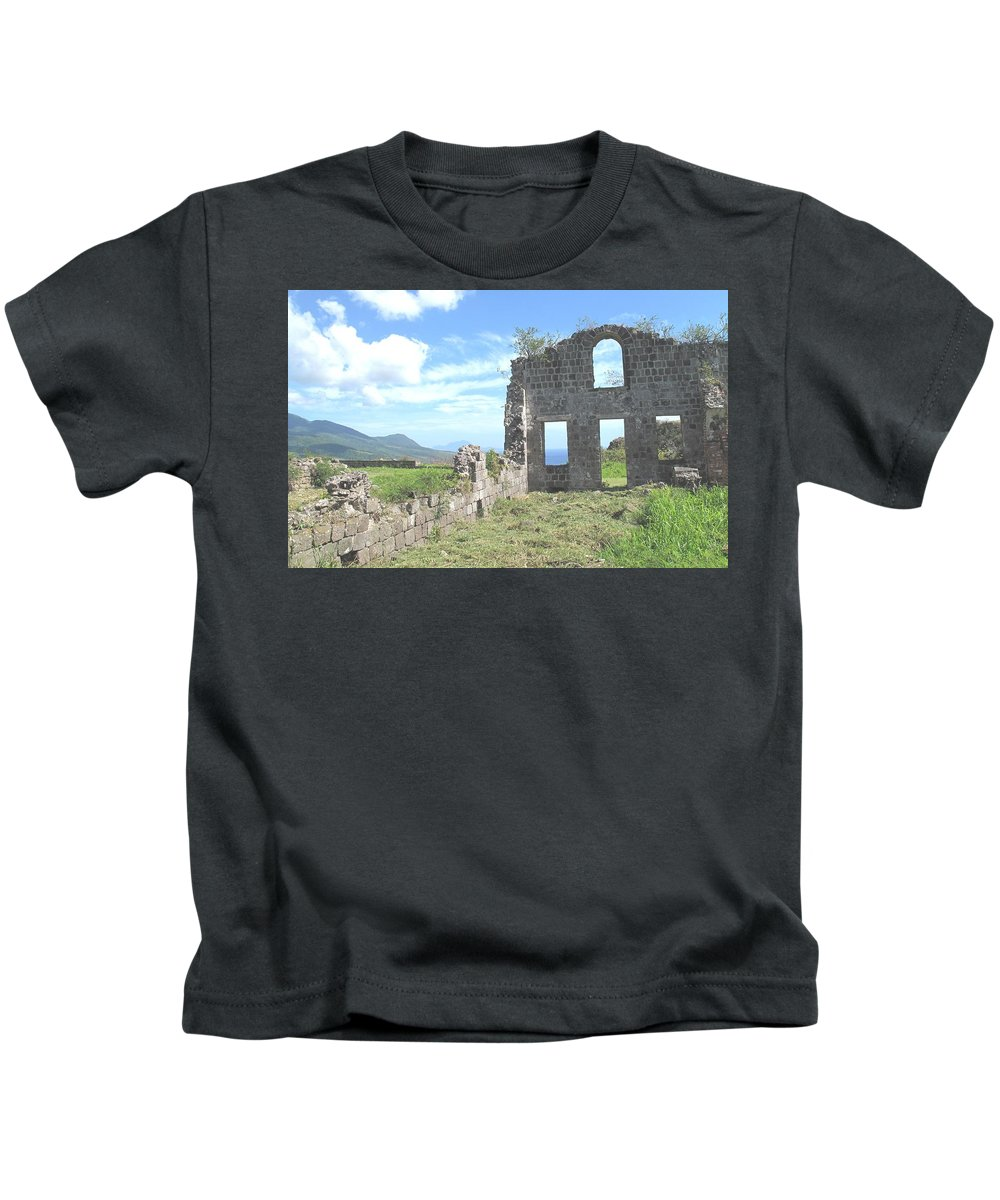 St Kitts Kids T-Shirt featuring the photograph Brimstone Ruins by Ian MacDonald