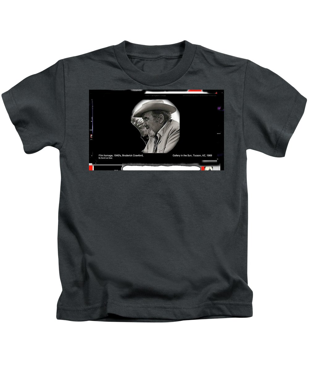 Broderick Crawford Ted Degrazias Gallery In The Sun Tucson Arizona 1969-2008 Kids T-Shirt featuring the photograph Broderick Crawford Ted Degrazias Gallery In The Sun Tucson Arizona 1969-2008 by David Lee Guss