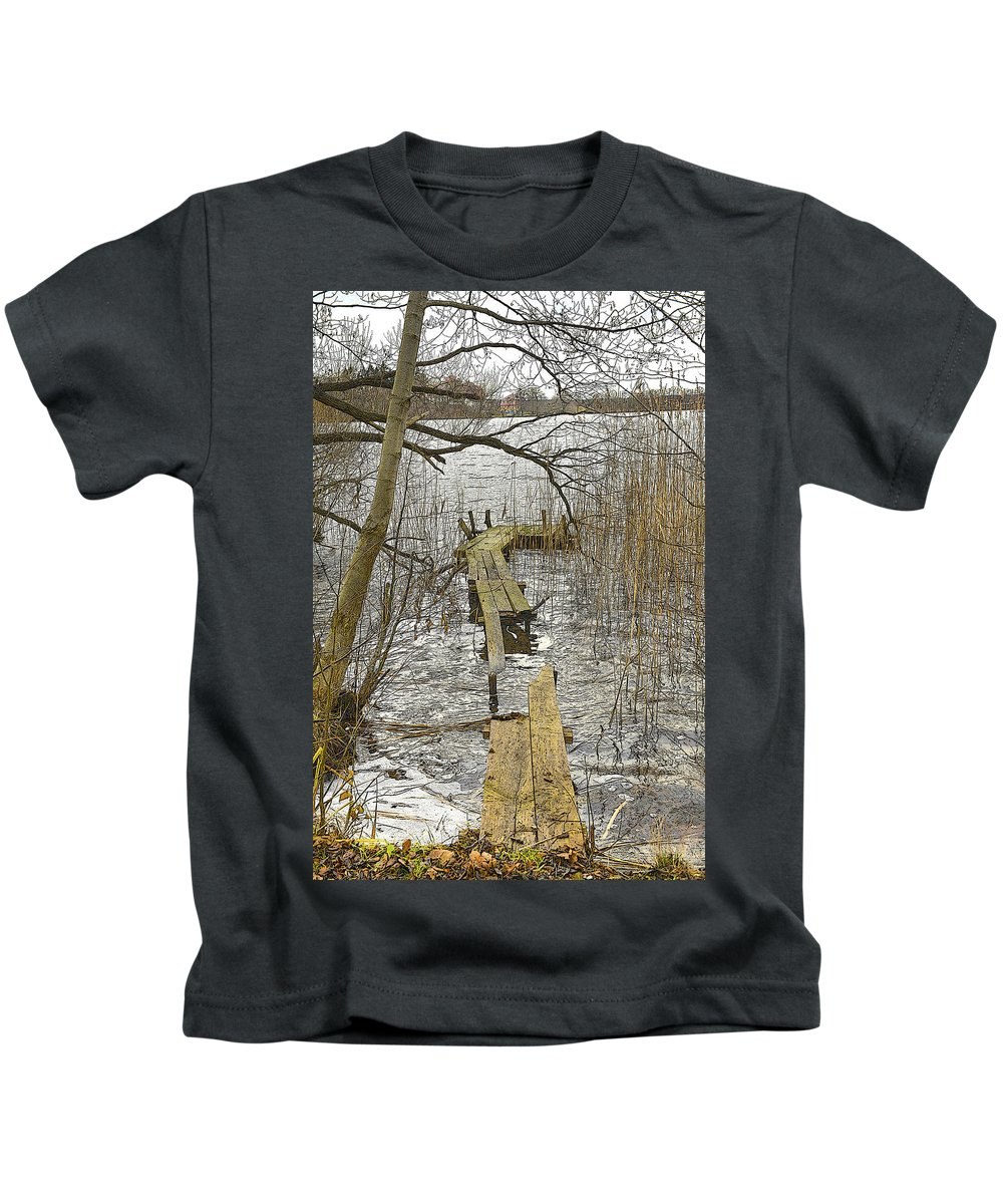 Pier Kids T-Shirt featuring the photograph Broken Pier On The Lake. by Adriano Bussi