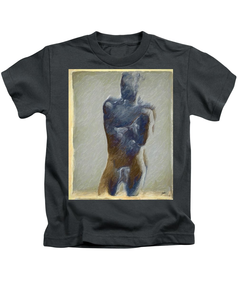 Abstract Kids T-Shirt featuring the digital art Bronze Statue by Joaquin Abella