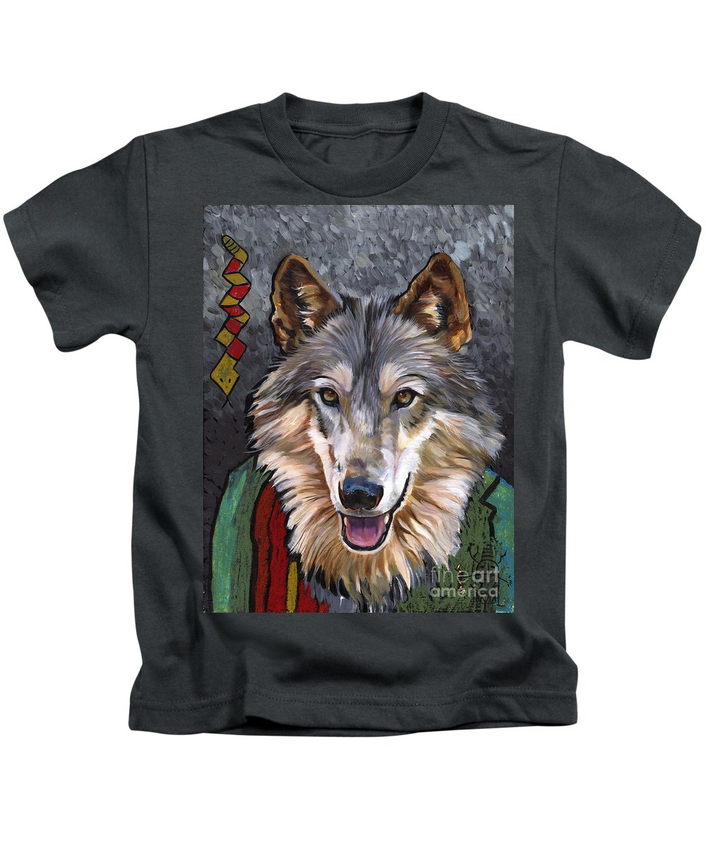 Wolf Kids T-Shirt featuring the painting Brother Wolf by J W Baker