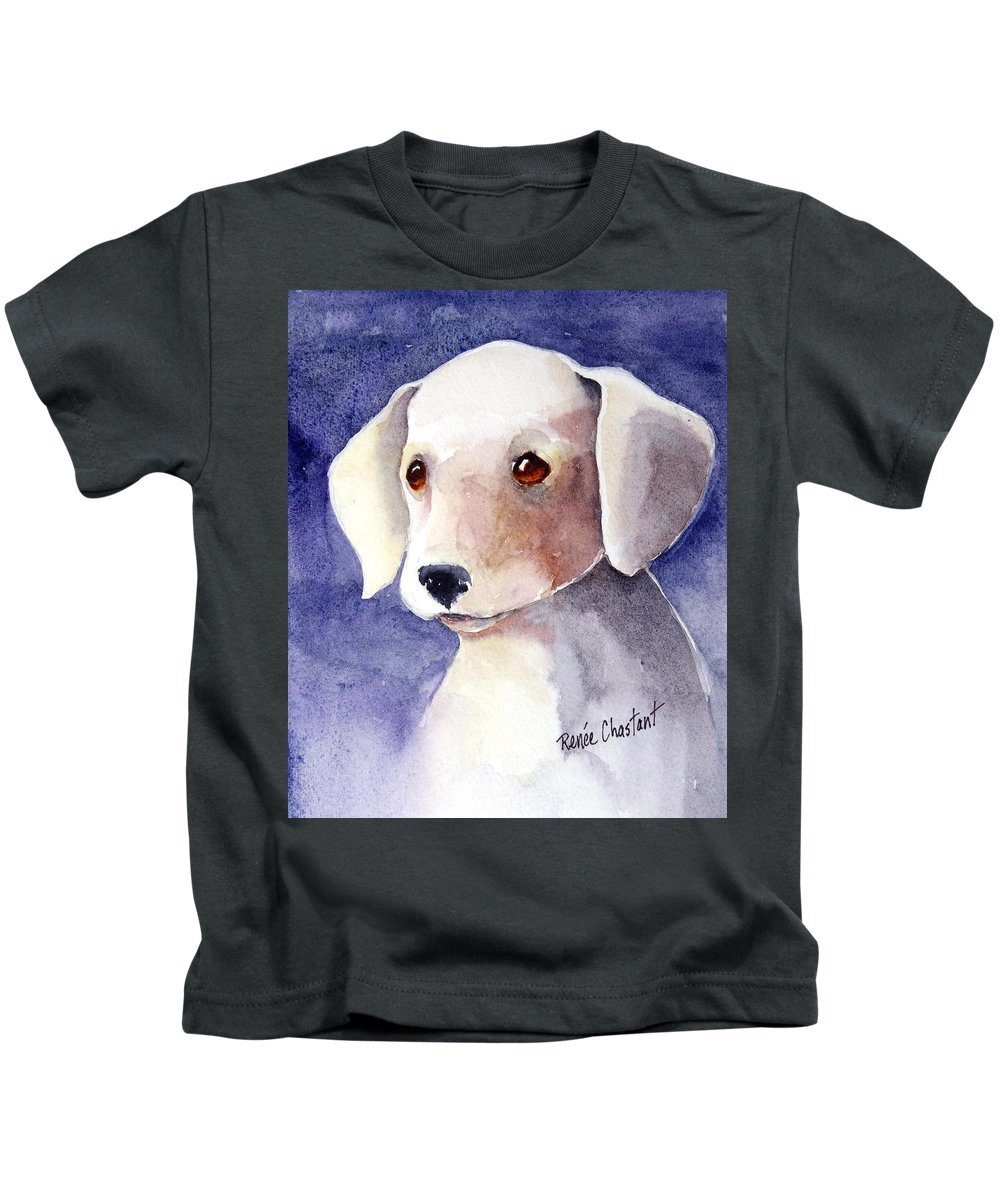 Puppy Kids T-Shirt featuring the painting Brown Eyes by Renee Chastant
