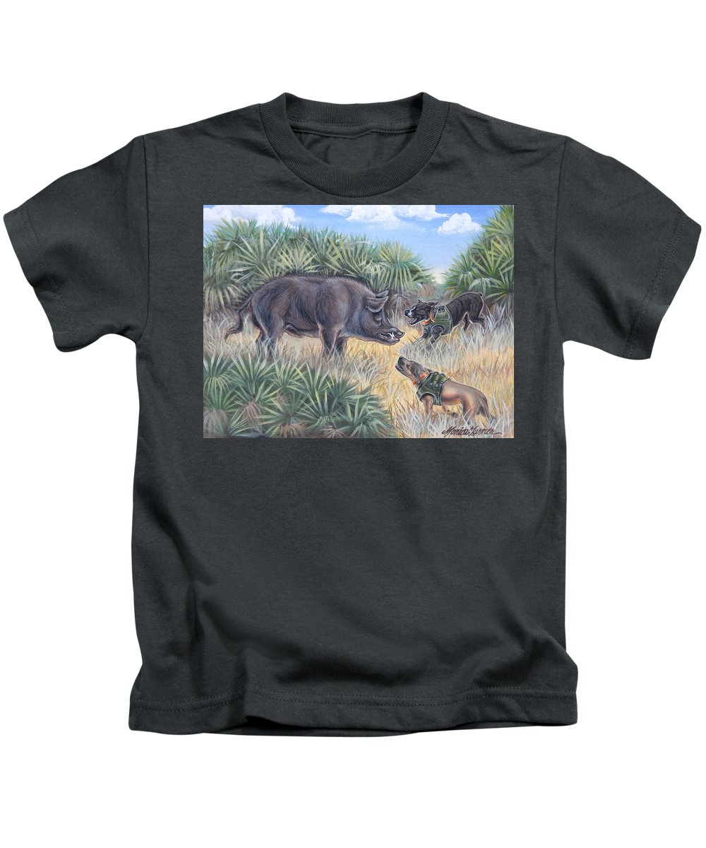 Hog Painting Kids T-Shirt featuring the painting Brownie And Clyde by Monica Turner
