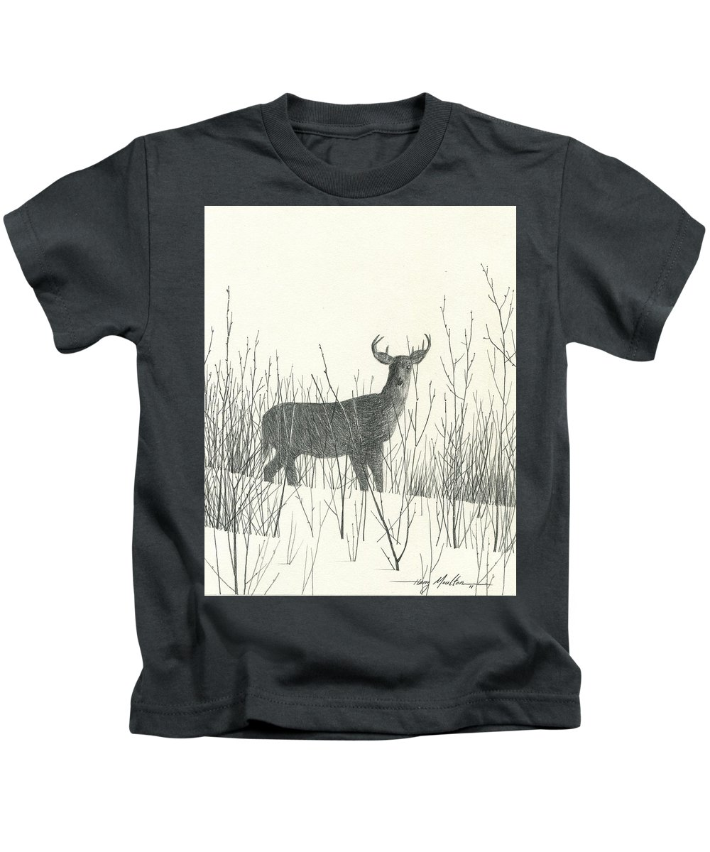 Deer Kids T-Shirt featuring the drawing Buck by Harry Moulton