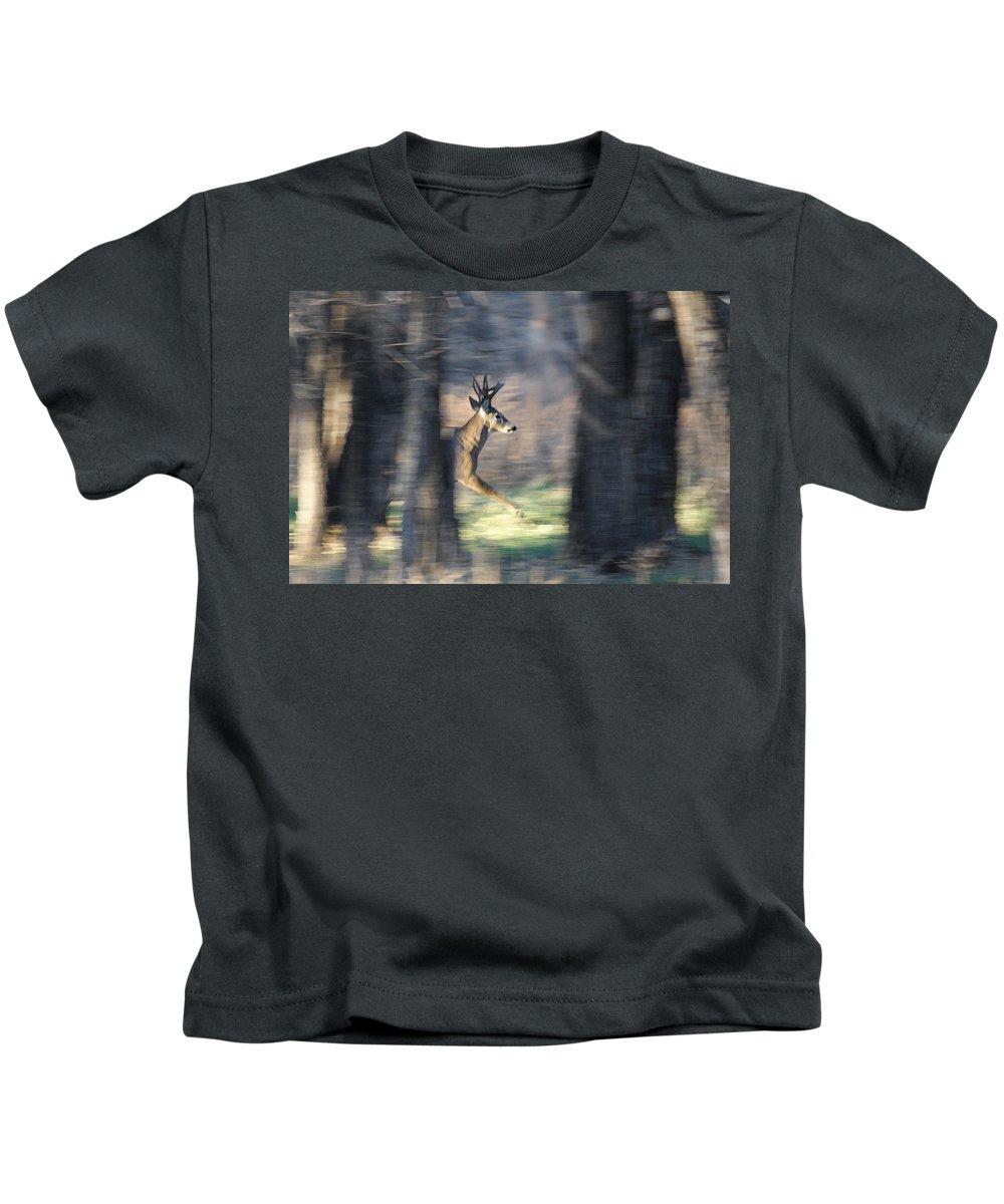 Bucks Kids T-Shirt featuring the photograph Buck Running Thru The Woods by Ernie Echols