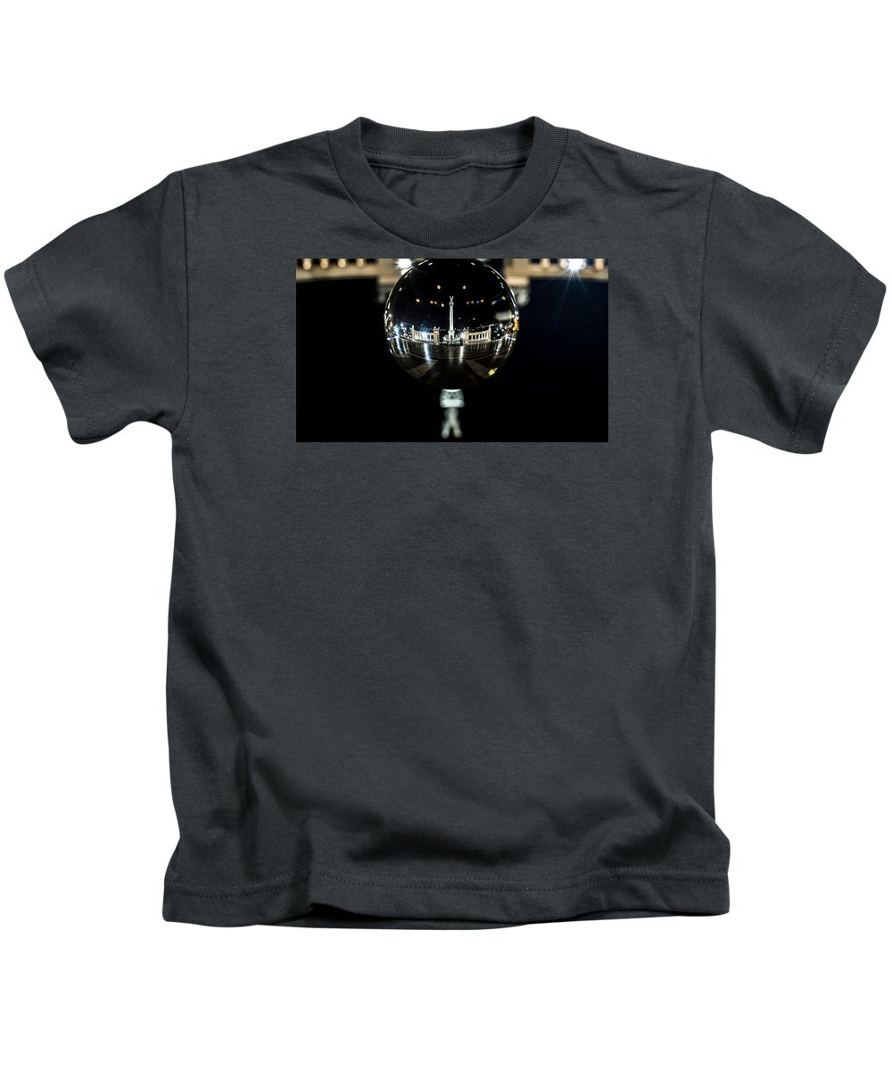 Budapest Kids T-Shirt featuring the digital art Budapest Globe - Heroes' Square by Gabor Tokodi