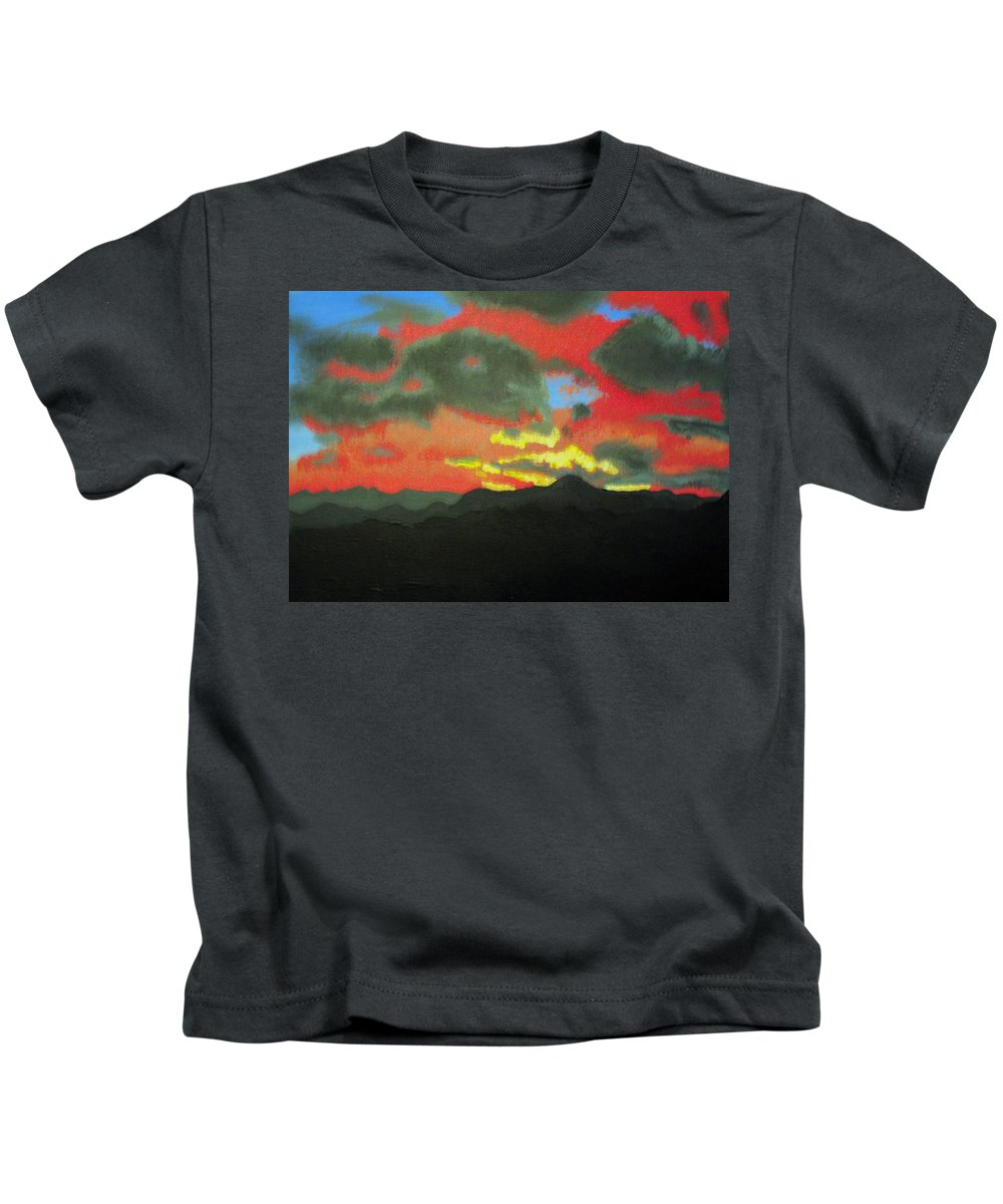 Sunset Kids T-Shirt featuring the painting Buenas Noches by Marco Morales