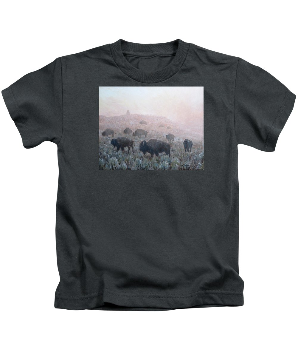 Western Art Kids T-Shirt featuring the painting Buffalo in Yellowstone Fog by Scott Robertson