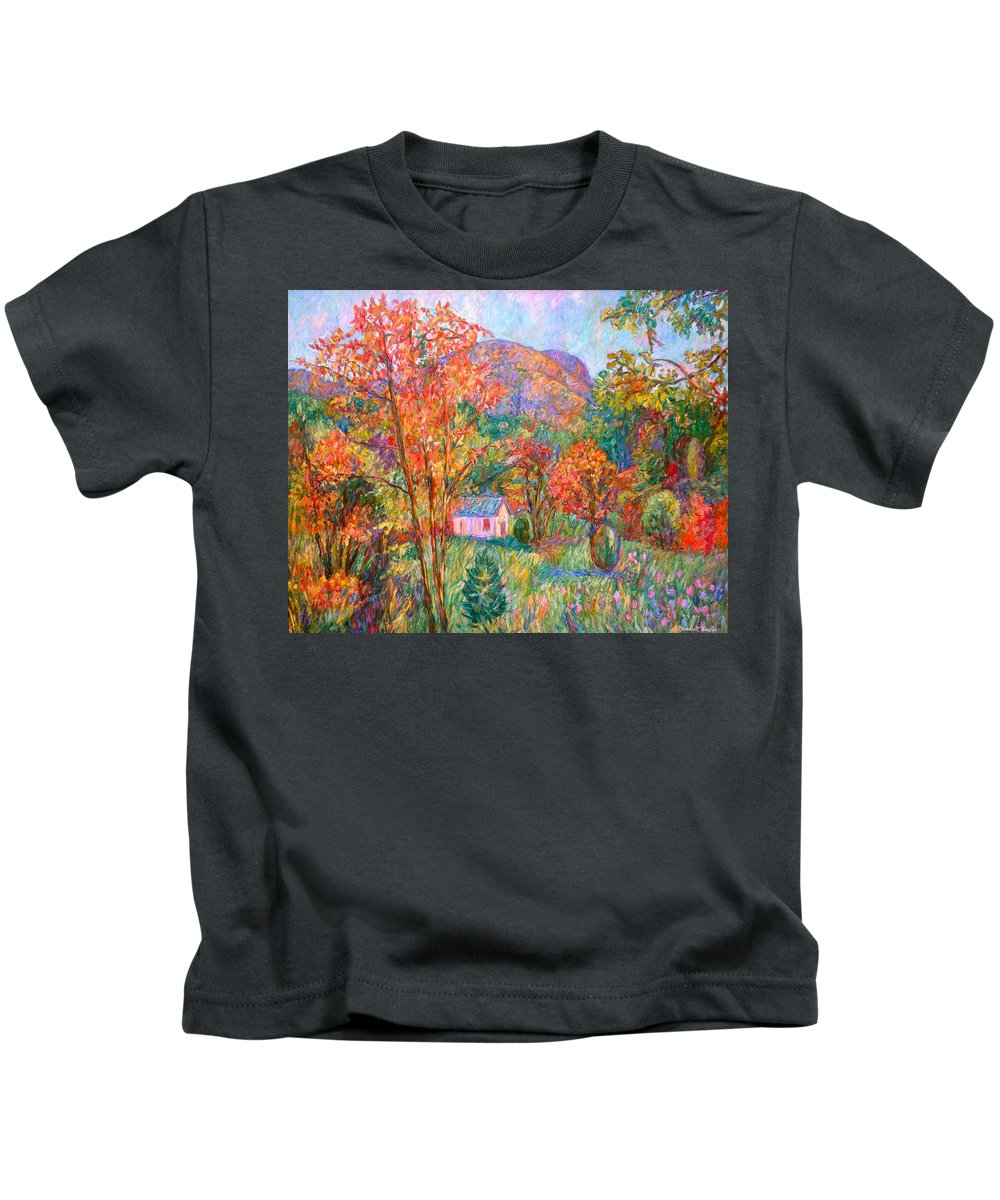 Landscape Kids T-Shirt featuring the painting Buffalo Mountain In Fall by Kendall Kessler