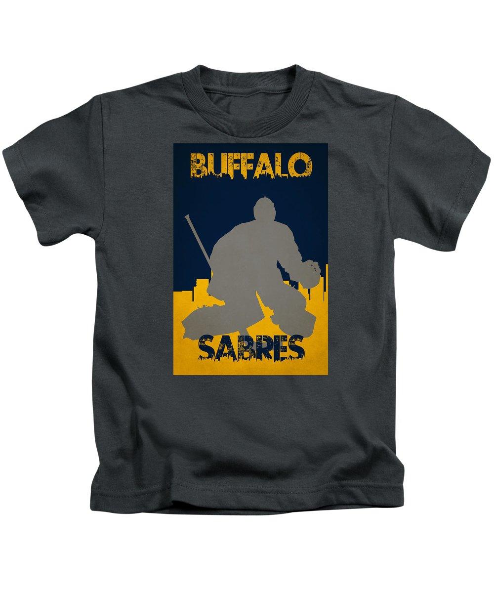 Sabres Kids T-Shirt featuring the photograph Buffalo Sabres Shadow Player by Joe Hamilton