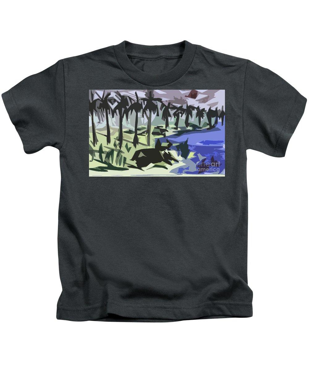 Buffalo Kids T-Shirt featuring the painting Bull-gaze by Ayyappa Das