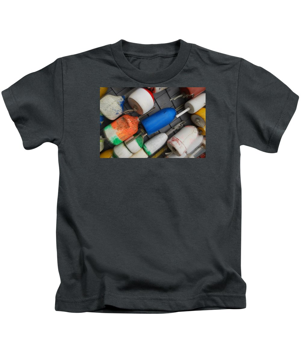 Buoys Kids T-Shirt featuring the photograph Buoys On A Slant by Melinda Schneider