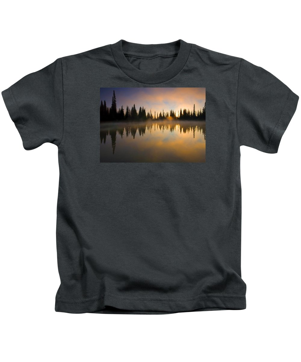 Lake Kids T-Shirt featuring the photograph Burning Dawn by Mike Dawson