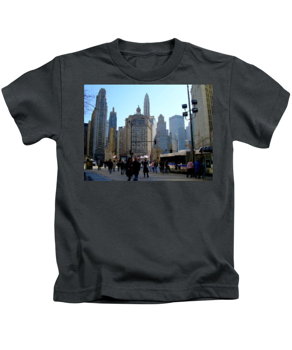 Archtecture Kids T-Shirt featuring the digital art Bus On Miracle Mile by Anita Burgermeister
