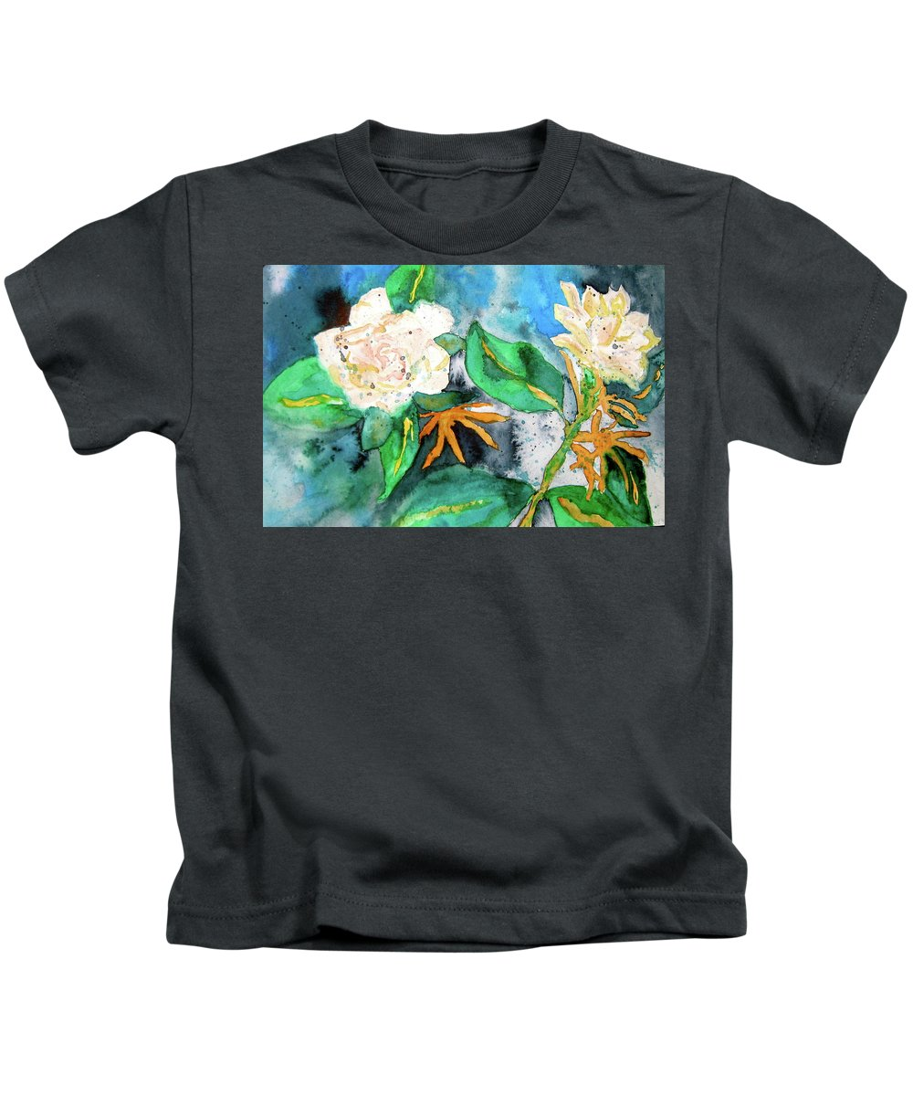 Gardenias Kids T-Shirt featuring the painting Busy Gardenias by Beverley Harper Tinsley