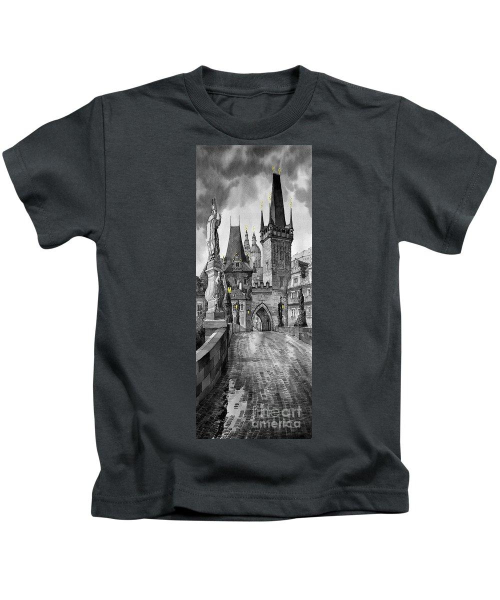 Prague Kids T-Shirt featuring the painting Bw Prague Charles Bridge 02 by Yuriy Shevchuk
