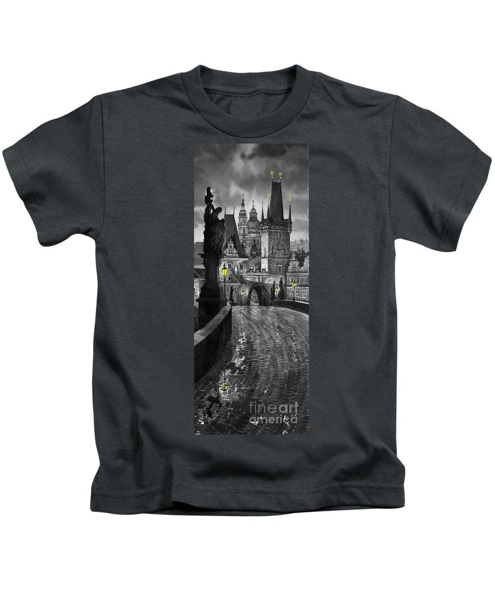 Prague Kids T-Shirt featuring the painting Bw Prague Charles Bridge 03 by Yuriy Shevchuk