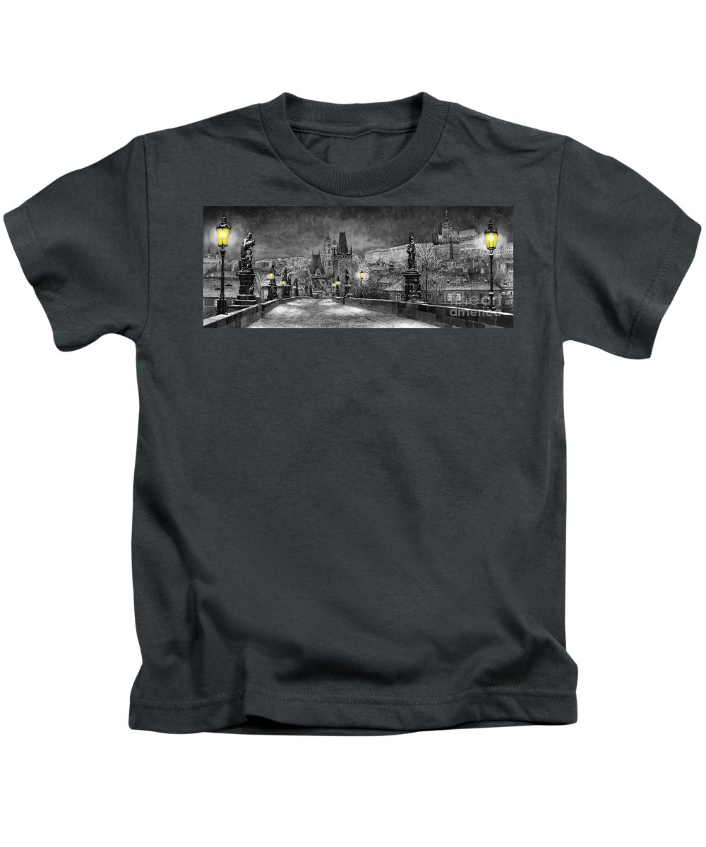 Prague Kids T-Shirt featuring the painting Bw Prague Charles Bridge 06 by Yuriy Shevchuk