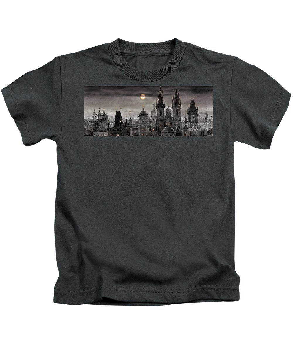 Cityscape Kids T-Shirt featuring the painting Bw Prague City Of Hundres Spiers by Yuriy Shevchuk