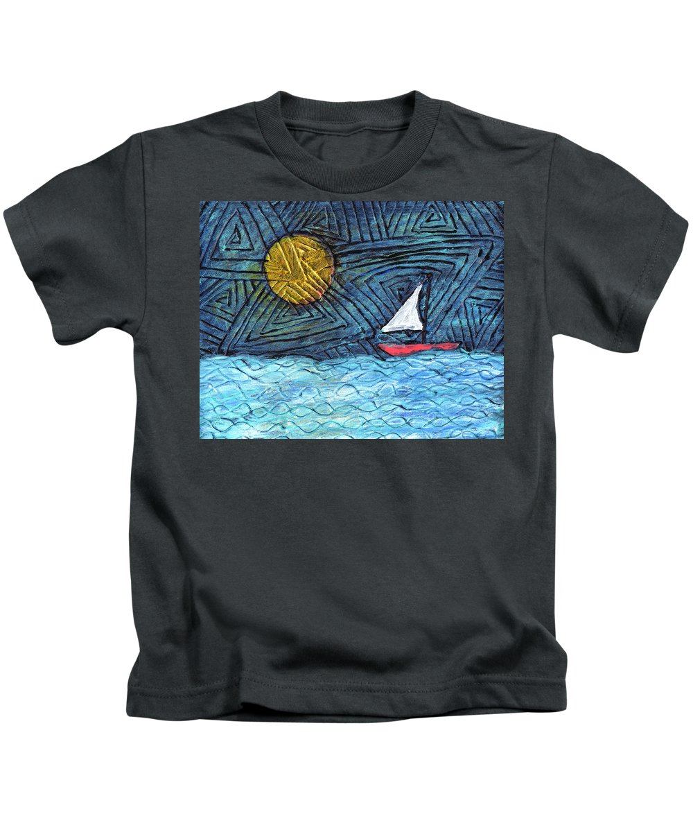 Sail Boat Kids T-Shirt featuring the painting By The Light Of The Moon by Wayne Potrafka