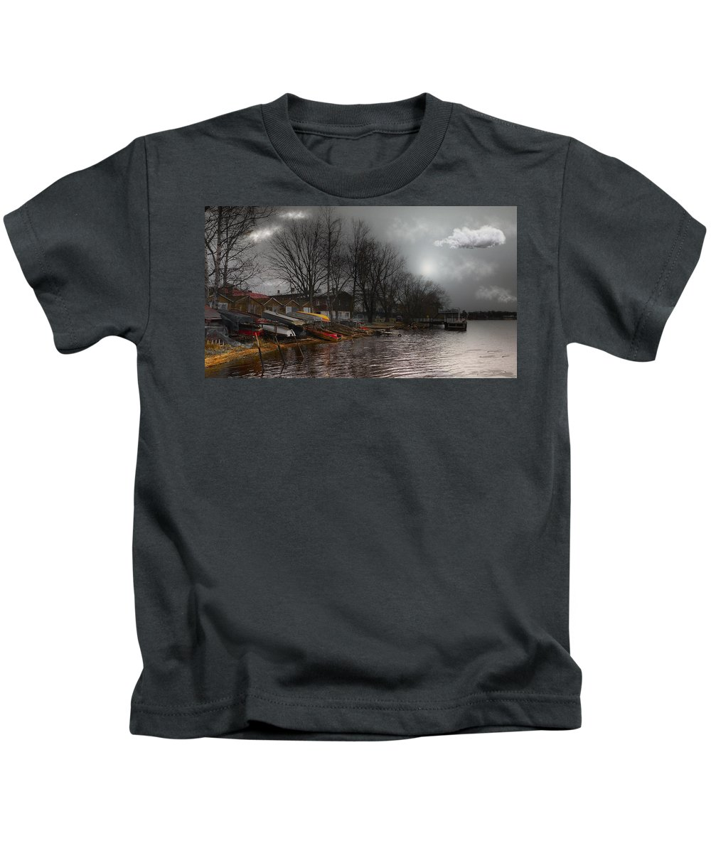 #river#water#sky#clouds#boats#city#country#latvia#travel#art# Kids T-Shirt featuring the photograph ...by The Pier... by Aleksandrs Drozdovs