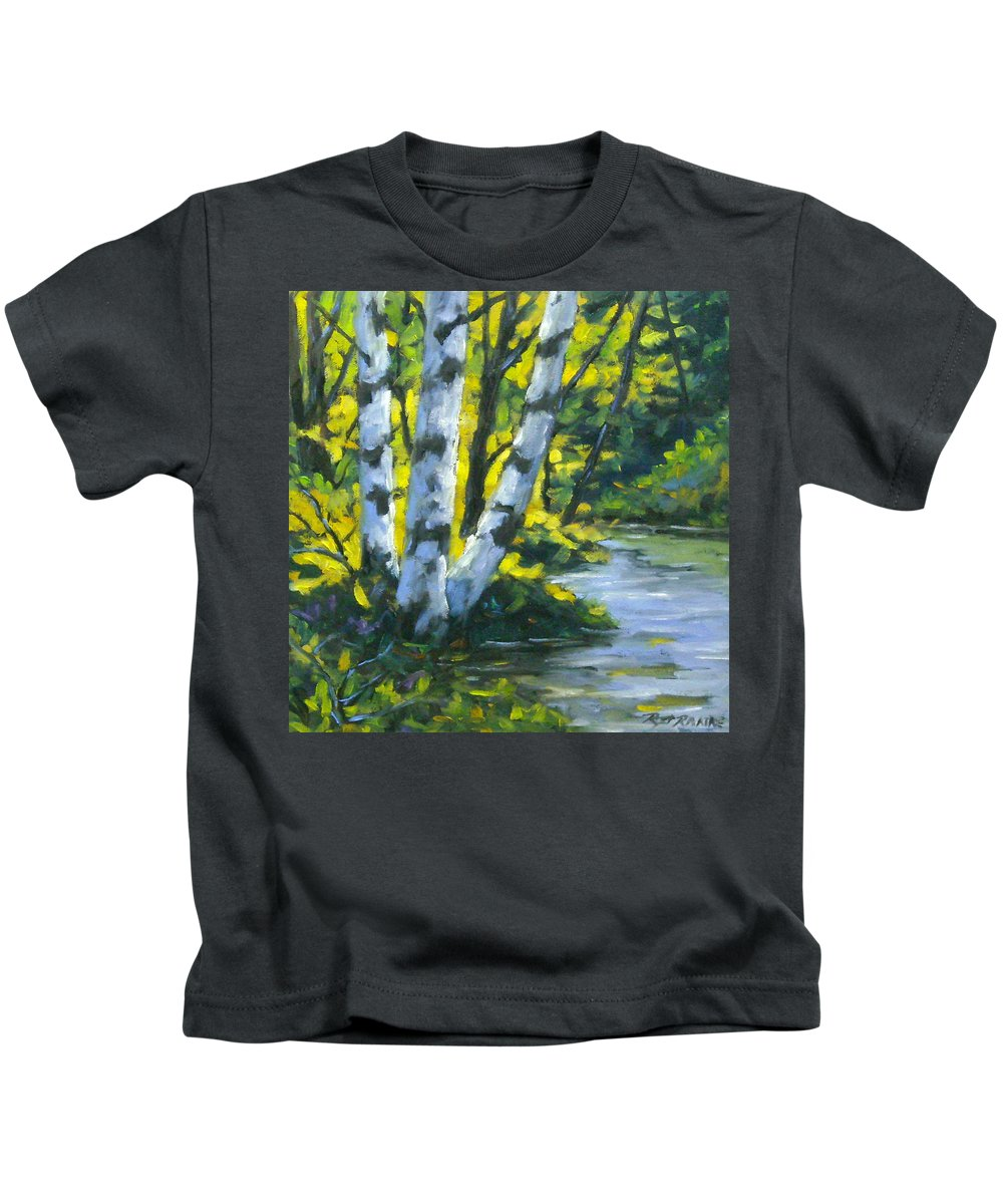 Art Kids T-Shirt featuring the painting By The River by Richard T Pranke