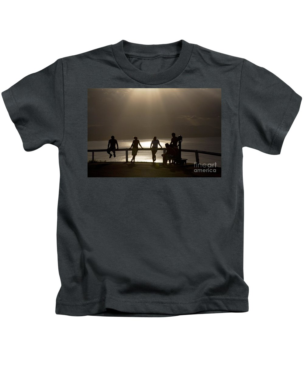 Byron Bay Lighthouse Silhouette Sunset Rays Kids T-Shirt featuring the photograph Byron Bay Lighthouse by Sheila Smart Fine Art Photography