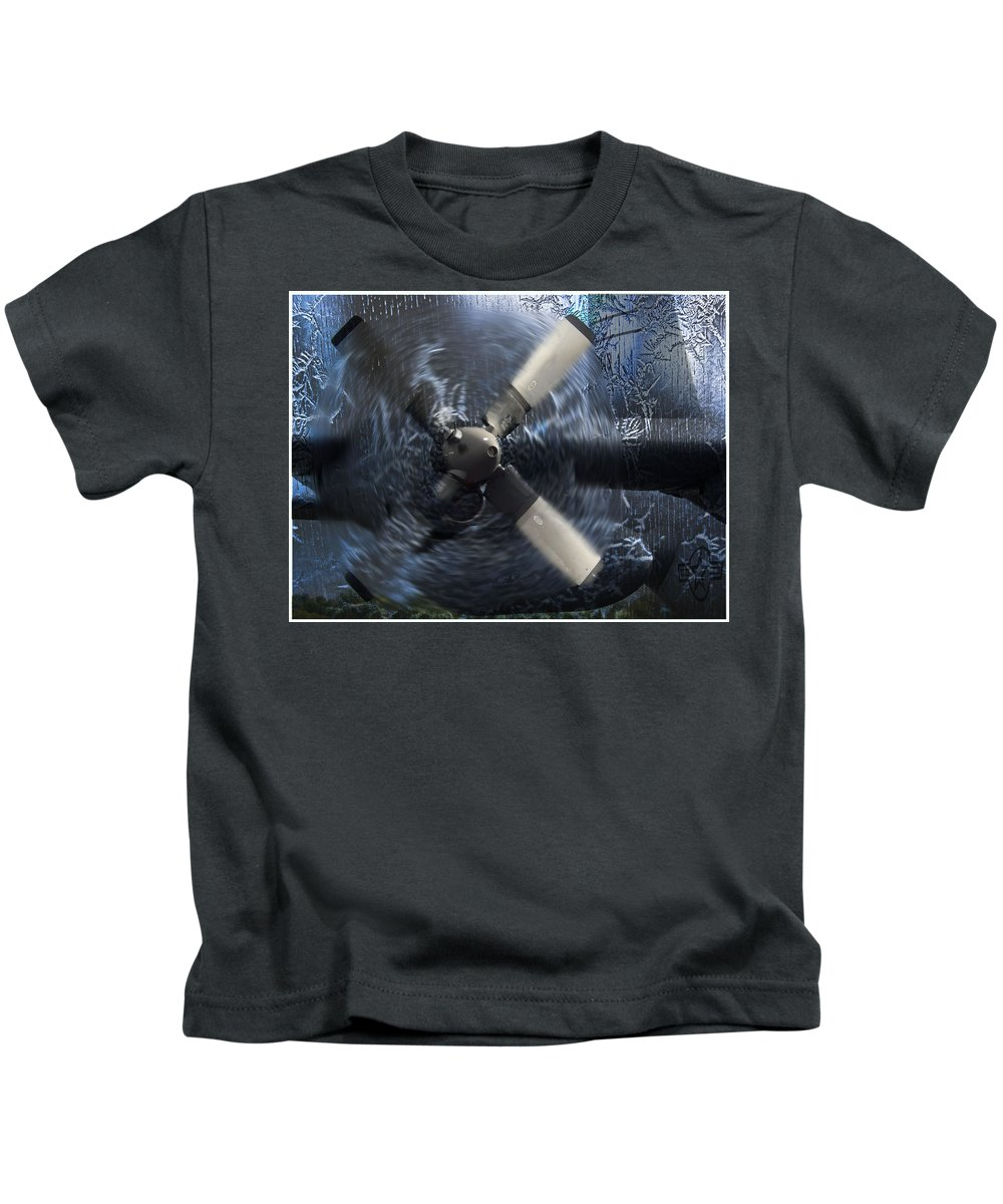 C-130 Kids T-Shirt featuring the photograph C-130 Through The Storm by Bob Welch