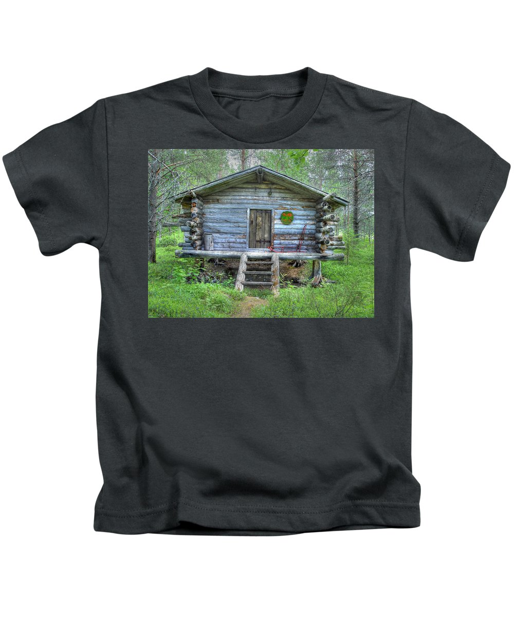 Rustic Kids T-Shirt featuring the photograph Cabin In Lapland Forest by Merja Waters