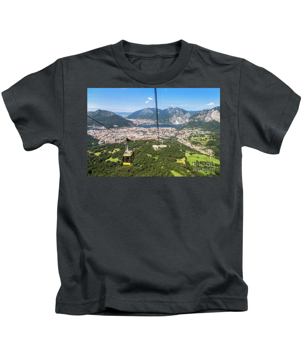 Como Kids T-Shirt featuring the photograph Cable Car Above The City Of Lecco by Didier Marti